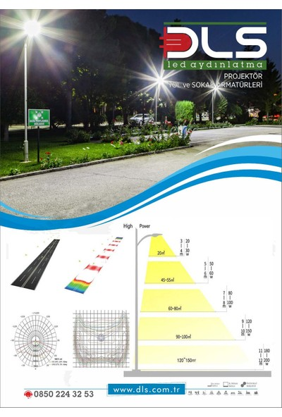 DLS LED Sokak Armatürü Sokak Lambası 50 W 10 ADET