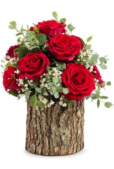 Lezzetliçiçek Kütükte Kırmızı 7 Gül Sevgiliye