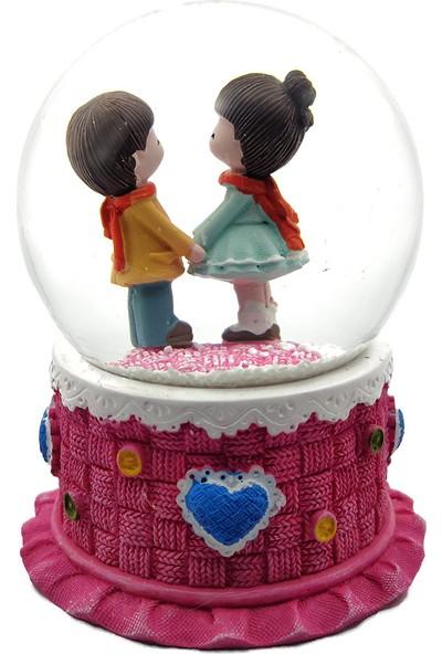 Ramosis El Ele Tutuşan Romantik Aşıklar Çift Işıklı Kar Küresi