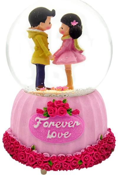 Ramosis Forever Love Güllerin Içinde Sonsuz Aşk Motorlu Püskürtmeli Işıklı Müzikli Kar Küresi
