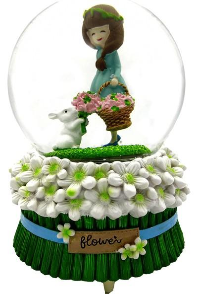 Ramosis Tavşan Ile Çiçek Toplayan Güzel Motorlu Püskürtmeli Işıklı Müzikli Kar Küresi