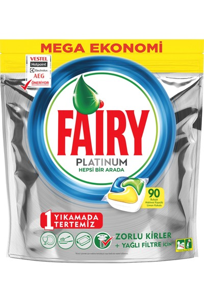Fairy Platinum 90 Yıkama Bulaşık Makinesi Deterjanı Kapsülü Limon Kokulu