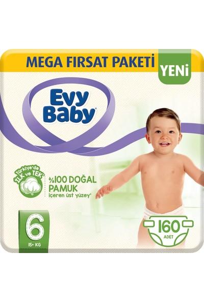Evy Baby Bebek Bezi 6 Beden Ekstra Large Mega Paketi 160'lı