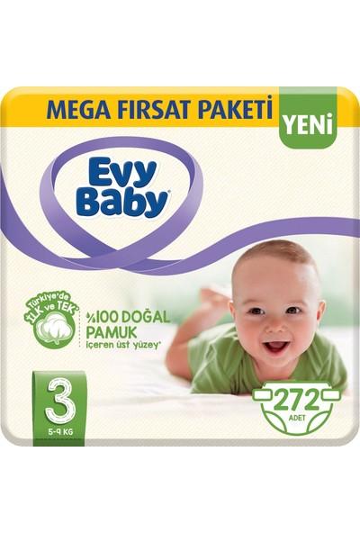 Evy Baby Bebek Bezi 3 Beden Midi Mega Paketi 272'li