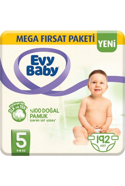 Evy Baby Bebek Bezi 5 Beden Junior Mega Paketi 192'li
