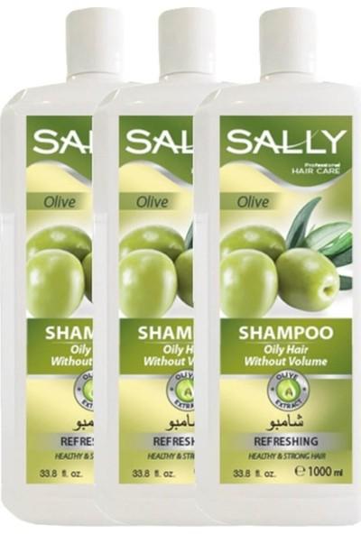 Sally Saç Şampuan Olive 1 Litre - Hacimsiz Yağlı Saçlar - 3 Adet