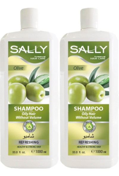 Sally Saç Şampuan Olive 1 Litre - Hacimsiz Yağlı Saçlar - 2 Adet
