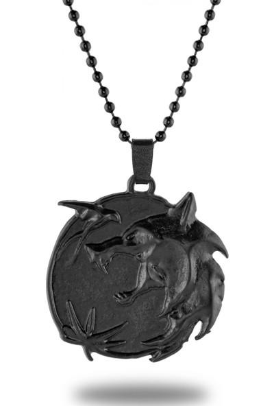 Apptakı Mat Siyah The Witcher Madalyon Kolye - CAZ0163