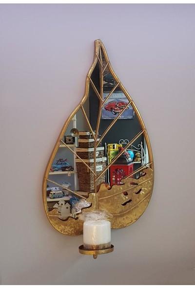 Evim Tatlı Evim Dekoratif Aynalı Metal Duvar Mumluğu 57CM