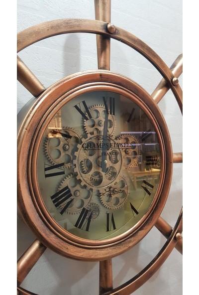 Evim Tatlı Evim Çarklı Metal Dümen Duvar Saati 70cm