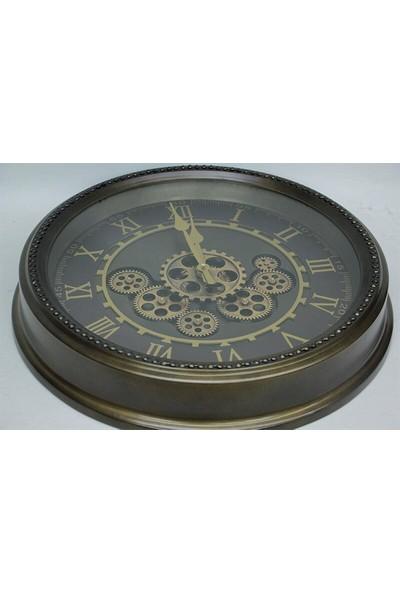 Evim Tatlı Evim Çarklı Metal Duvar Saati 50cm