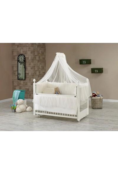 Meltem Smart Kral Sallanır Krem Anne Yanı Ahşap Beşik + Yatak + Uyku Seti
