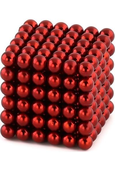 Sezy 216 Parça 5 mm Kırmızı Neocube Sihirli Toplar Tek Renkli Manyetik Neodyum