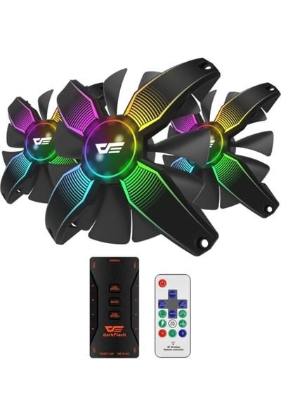 DarkFlash Talon 3Pin A-RGB 3x12CM Fan Kit (3'lü) + Kontrolcü + Uzaktan Kumanda