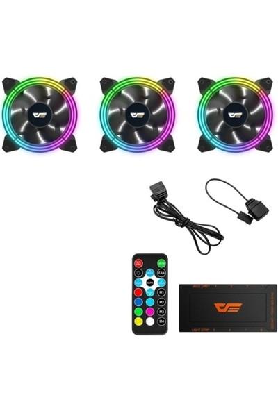 DarkFlash CF11 Pro 3Pin A-RGB 3x12CM Fan Kit (3'lü) + Kontrolcü + Uzaktan Kumanda
