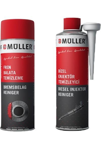 Müller Fren, Balata Spreyi 500 ml + Müller Enjektör Temizleme Dizel Yakıt Katkısı 300 ml