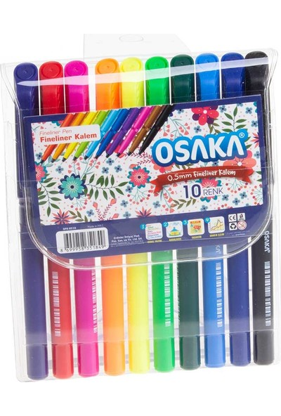 Osaka Renkli Keçe Uçlu Fineliner Kalem 0,4 mm 10'lu
