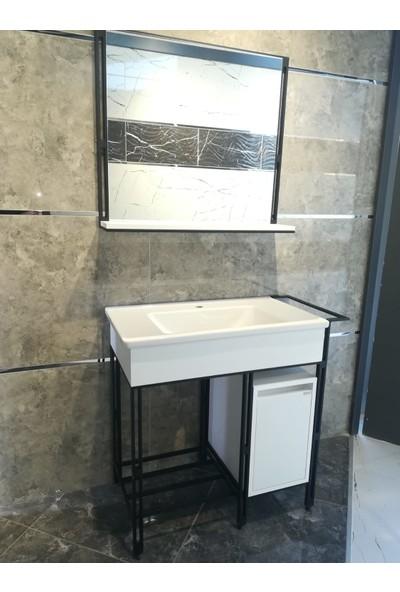 Bagnotti Vela 80 cm Metal Gövdeli Beyaz Siyah Banyo Dolabı