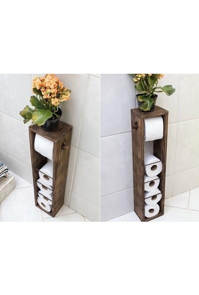 Ince Çizgi Dekoratif Ahşap Tuvalet Kağıtlığı