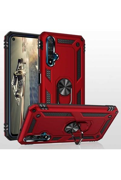 Case Street Huawei Nova 5T Kılıf Vega Standlı Yüzüklü Mıknatıslı Silikon Siyah
