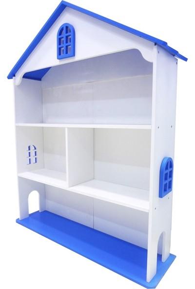 Montesev Çocuk Ahşap Kitaplık Raf Dolap Montessori - Mavi