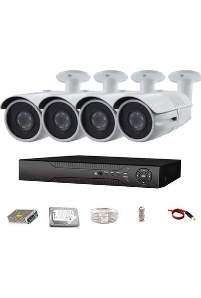 QROMAX PRO 4142 4' lü 5 Megapiksel SONY LENS 1080P Aptina Sensör Metal Kasa Güvenlik Kamerası Seti