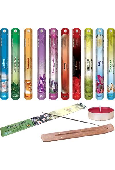 Flute Aura Tütsü Kayığı ve Kokulu Tealight Mum 200 Adet