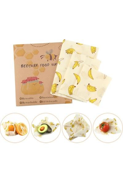 Beeswax Balmumu Yeniden Kullanılabilir Yiyecek Saklama Kumaşı Muz Desen 3 Parça