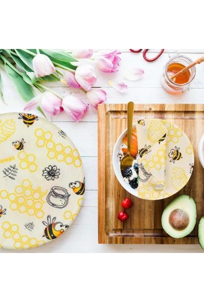 Beeswax Balmumu Yeniden Kullanılabilir Yiyecek Saklama Kumaşı Arımuya Desen 3 Parça