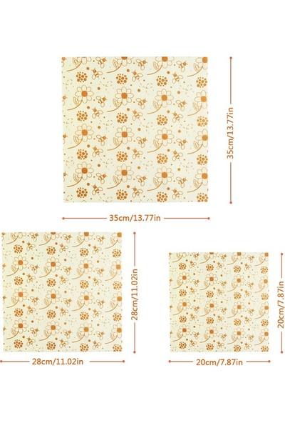 Beeswax Balmumu Yeniden Kullanılabilir Yiyecek Saklama Kumaşı Papatya Desen 3 Parça