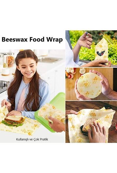 Beeswax Balmumu Yeniden Kullanılabilir Yiyecek Saklama Kumaşı Petek Desen 3 Parça