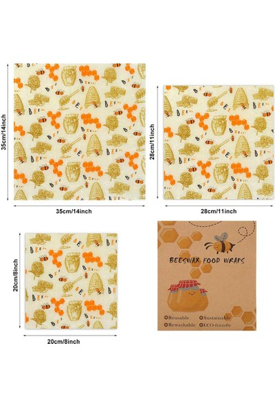 Beeswax Balmumu Yeniden Kullanılabilir Yiyecek Saklama Kumaşı Kovan Desen 3 Parça