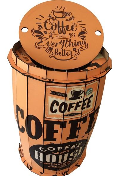 Pratik Dekor Ahşap Fıçı Sehpa Kahve