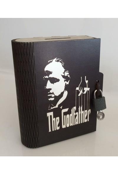Pratik Dekor Kitap Kumbara Kilitli Ahşap Kutu Godfather