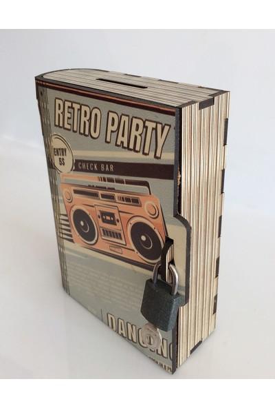 Pratik Dekor Kitap Kumbara Kilitli Ahşap Kutu Retro Party