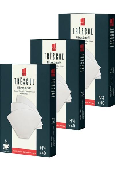 Tréscol Kahve Filtresi 4 Numara Büyük Boy Beyaz Kağıt 3 X 40 120'li Paket