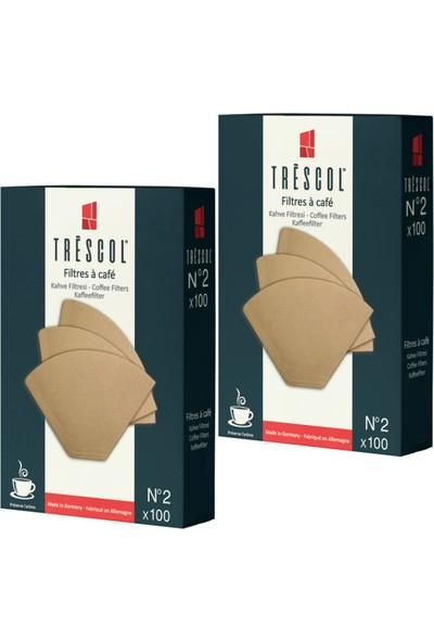 Tréscol Kahve Filtresi 2 Numara Küçük Boy Naturel Kağıt 2 X 100 200'lü Paket