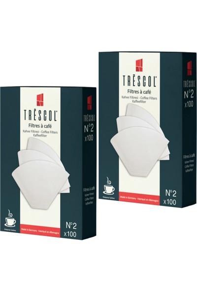 Tréscol Kahve Filtresi 2 Numara Küçük Boy Beyaz Kağıt 2 X 100 200'lü Paket