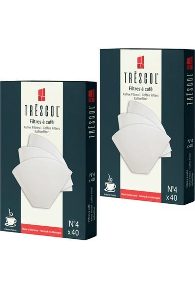 Tréscol Kahve Filtresi 4 Numara Büyük Boy Beyaz Kağıt 2 X 40 80'li Paket