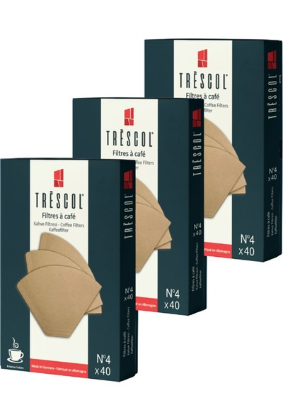Tréscol Kahve Filtresi 4 Numara Büyük Boy Naturel Kağıt 3 X 40 120'li Paket