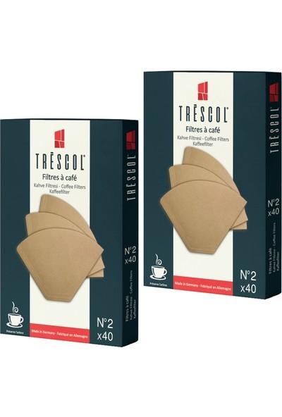 Tréscol Kahve Filtresi 2 Numara Küçük Boy Naturel Kağıt 2 X 40'lı 80'li Paket