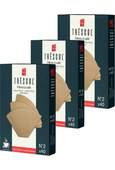 Tréscol Kahve Filtresi 2 Numara Küçük Boy Naturel Kağıt 3 X 40'lı 120'LI Paket