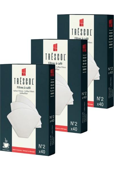 Tréscol Kahve Filtresi 2 Numara Küçük Boy Beyaz Kağıt 3 X 40'lı 120'lı Paket