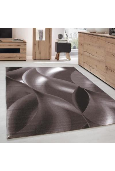 Ayyıldız Halı Modern Desenli Halı Geometrik Dalgalı Tasarım Kahverengi Bej