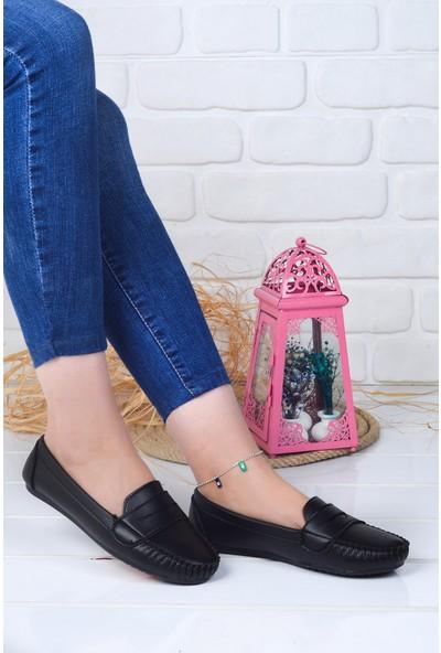 Annamaria Kolej Günlük Kadın Cilt Babet Ayakkabı Siyah