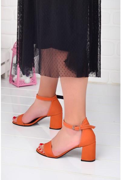 Ayakland 2013-05 Fitilli 7 Cm Kadın Orta Boy Topuk Ayakkabı Turuncu