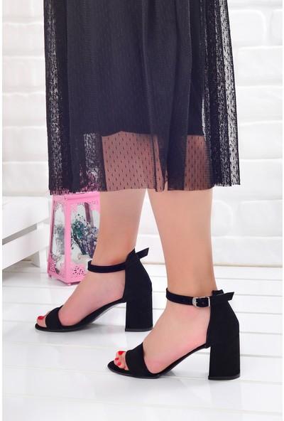 Ayakland 2013-05 Süet 7 Cm Kadın Orta Boy Topuk Ayakkabı Siyah