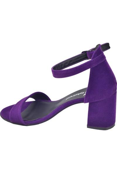 Ayakland 2013-05 Süet 7 Cm Kadın Orta Boy Topuk Ayakkabı Mor