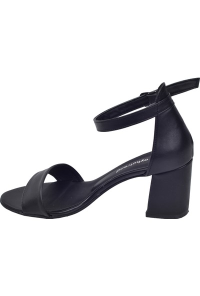 Ayakland 2013-05 Cilt 7 Cm Kadın Orta Boy Topuk Ayakkabı Siyah