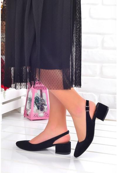 Ayakland 510-74 Süet 3 Cm Kadın Orta Boy Topuk Ayakkabı Siyah